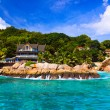 Hotel at tropical beach, La Digue, Seychelles — Stock Photo #4277820