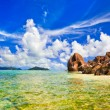 Beach Source d'Argent at island La Digue, Seychelles — Stock Photo