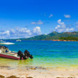 Panorama of beach on island Curieuse at Seychelles — Stock Photo