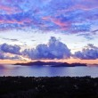 Island Praslin at sunset - Stock Photo