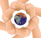 Hands and globe — Stock Photo