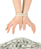 Money and bound hands — Stock Photo
