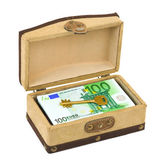 Money and key in box — Stock Photo