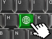 Computer keyboard with Earth key — Stock Photo