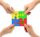 Hands and puzzle Team — Stock fotografie