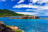 Beach Grand Anse at island La Digue, Seychelles — Stock Photo