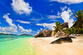 Beach Source d'Argent at island La Digue, Seychelles — Stock Photo