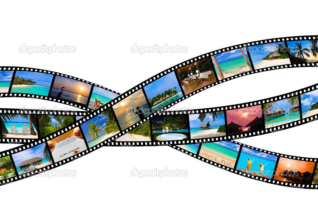 Frames of film - nature and travel (my photos), isolated on white background  Stock Photo #4278429