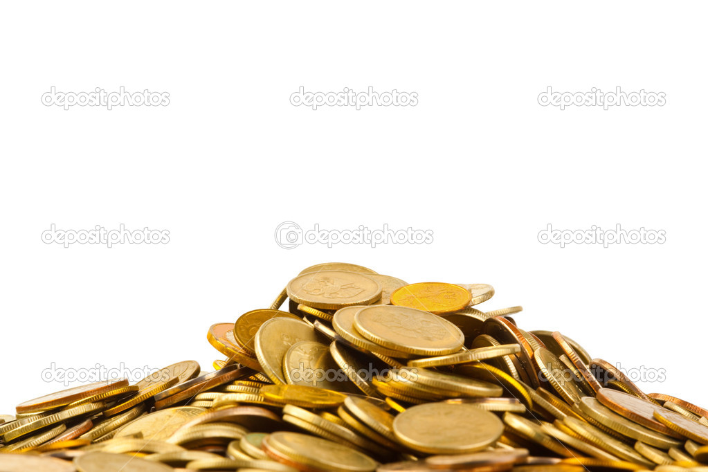 Heap of coins isolated on white background  Stock Photo #4278557