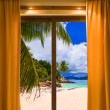 Hotel room and beach landscape — ストック写真