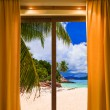 Stock Photo: Hotel room and beach landscape