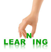 Hand and word Learninig — Stock Photo