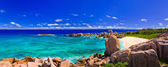 Panorama of tropical beach at Seychelles — Foto Stock