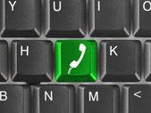 Computer keyboard with phone key — Stock Photo
