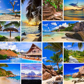 Collage av sommaren beach bilder — Stockfoto