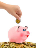 Piggy bank and hand with coin — Stock Photo