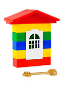 Toy house and key — Stock Photo