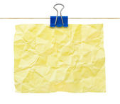 Yellow crumpled note paper — Stock Photo