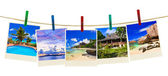 Vacation beach photography on clothespins — Foto Stock