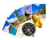 Summer beach shots and compass — Stock Photo
