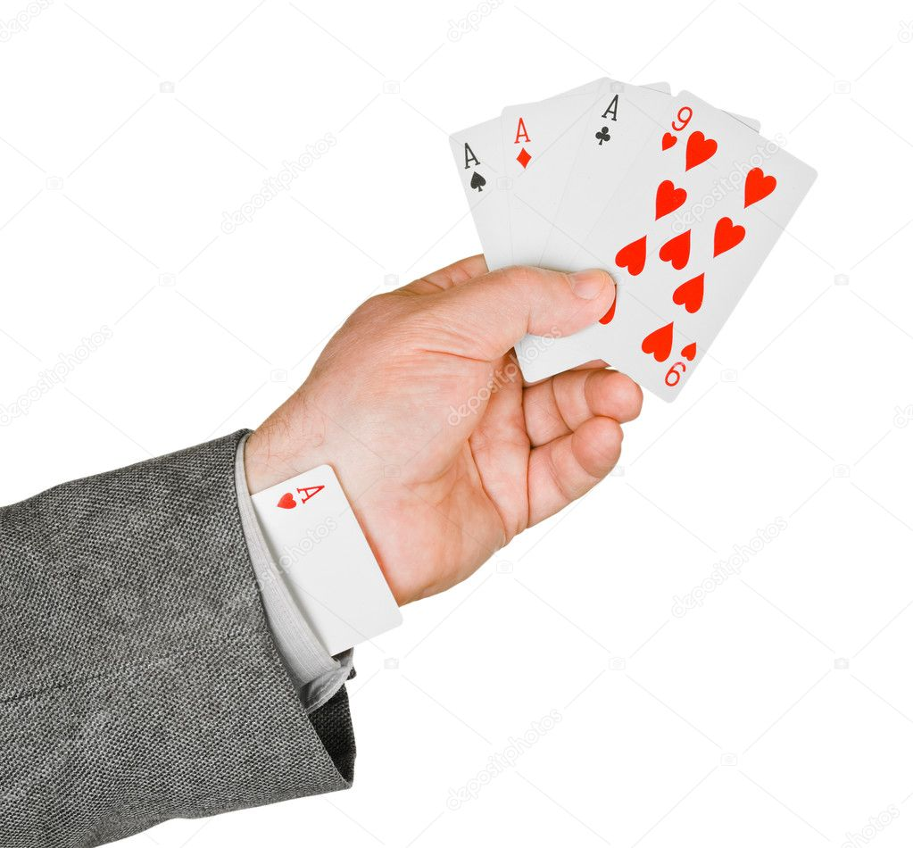 Hand and card in sleeve isolated on white background — Stock Photo #4282833