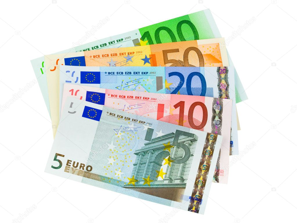 Euro money banknotes isolated on white background — Stock Photo #4284290