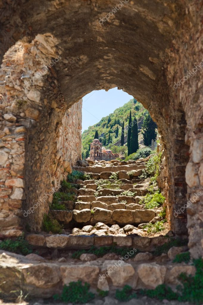 Ruins of old town in Mystras, Greece - archaeology background  Stock Photo #4284911