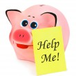 Piggy bank and paper Help Me — Stock Photo