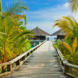 Water bungalows on a tropical island at evening - Stock Photo