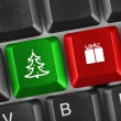 Computer keyboard with Christmas keys - Foto de Stock