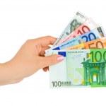 Hand with euro money — Stock Photo