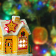 Stock Photo: Lighting house and christmas tree