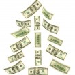 Christmas tree made of falling money — Stock Photo #4308381