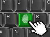 Toetsenbord van de computer met vingerafdruk — Stockfoto