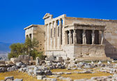 Erechtheum temple in Acropolis at Athens, Greece — Stock Photo