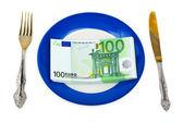 Money on plate — Stock Photo