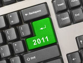 Computer keyboard with 2011 key — Stock Photo