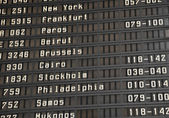 Flight information board in airport — Stock Photo