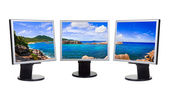 Panorama of coast on computer screens — Stock Photo