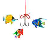Fishing hook and string — Stock Photo