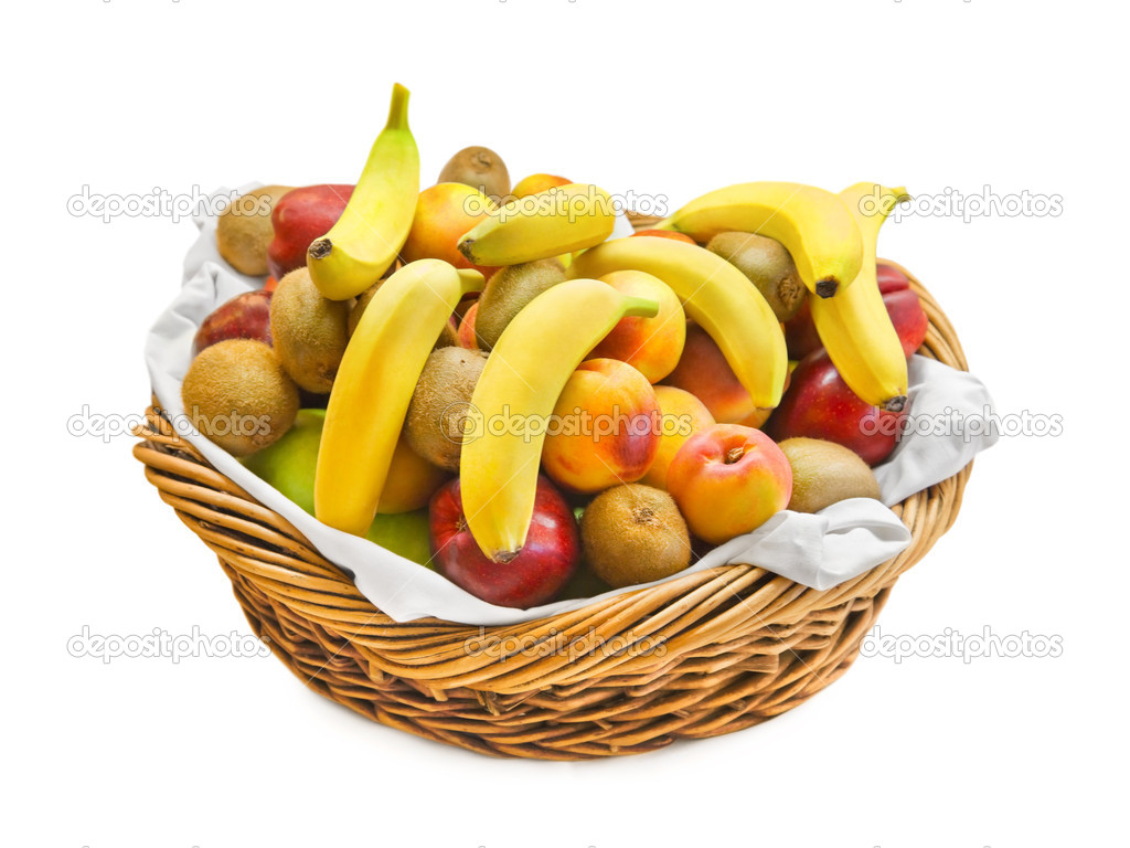 Basket with fruits isolated on white background — Stock Photo #4305642