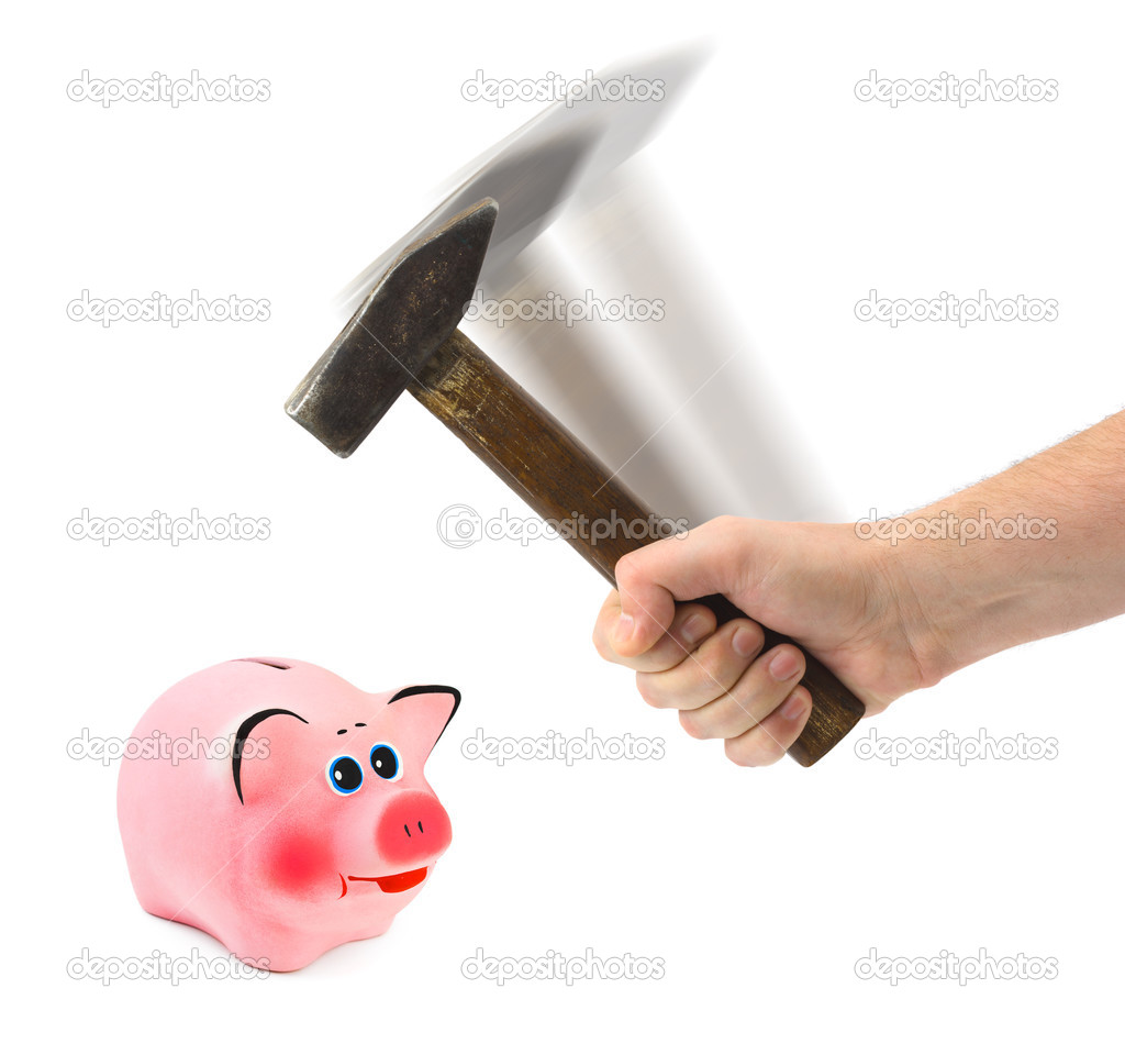 Hand with hammer and piggy bank - isolated on white background — Stock Photo #4306303