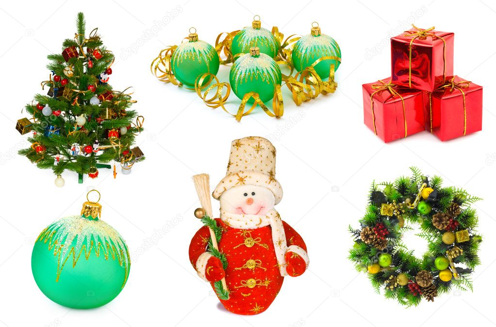 Christmas set isolated on white background — Stockfoto #4306575