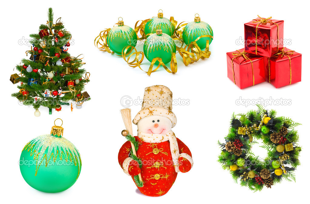 Christmas set isolated on white background  Foto de Stock   #4306575