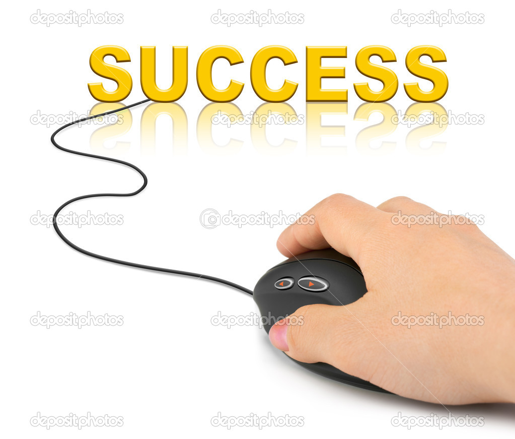 Hand with computer mouse and word Success - business concept — Stock Photo #4307700