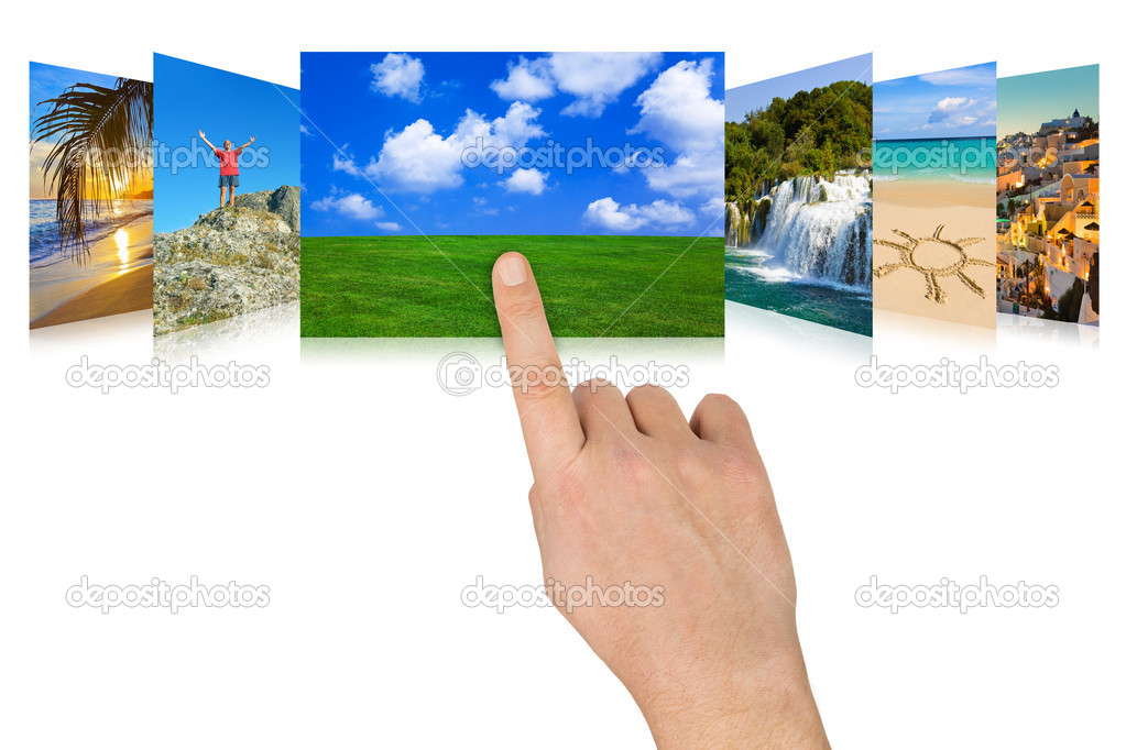 Hand scrolling nature and travel photography (my photos) - isolated on white background — Stockfoto #4307759