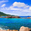 Panorama of tropical beach at Seychelles — Stock Photo #4343494