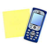 Mobile phone and note paper — Stock Photo