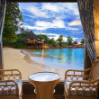 Hotel room and beach landscape — Stock Photo #4501114