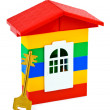 Toy house and key - Stock Photo